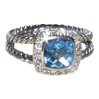 Authentic David Yurman Petite Albion Blue Topaz Diamond Halo Ring
