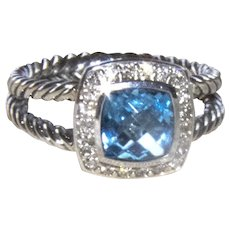 Authentic David Yurman Petite Albion Blue Topaz Diamond Halo Ring