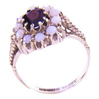 Estate 9K Yellow Gold Garnet and Opal Ring