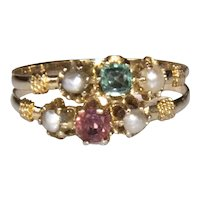 French Antique late Victorian ring. 18k yellow gold, ruby, emerald and small pearls.