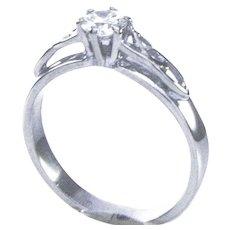 14K WG Split Shank GIA certified Diamond Ring