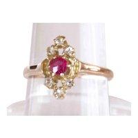 Antique Georgian 14K YG Ruby and Rose Cut Diamond Ring