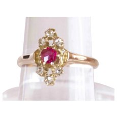 Antique Georgian 14K YG Ruby and Rose Cut Diamond Ring