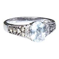 LeVian 14k WG Oval Aquamarine Diamond Ring