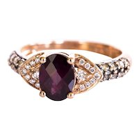 LeVian 14k Rose Gold Garnet Diamond Ring
