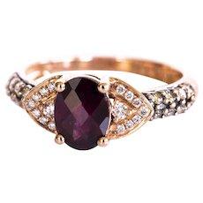 LeVian 14k Rose Gold 1.5 CT Oval Raspberry Rhodolite Garnet .33 CT Vanilla & Chocolate Diamond Ring