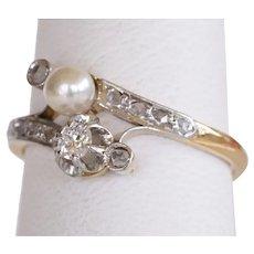 French Victorian 18k Platinum Toi et Moi Diamond Pearl Ring