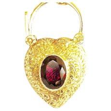 8K Gold Vintage Garnet Heart Padlock Pendant