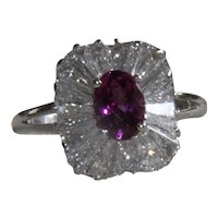 Platinum 1.68 CT Diamond and  .91 CT Pink Tourmaline Ring
