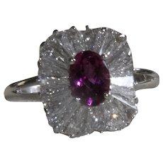 Platinum 1.68 CT Diamond and  .91 CT Pink Tourmaline Ring