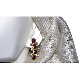 18K Gold 2 CT Ruby and Diamond Earrings