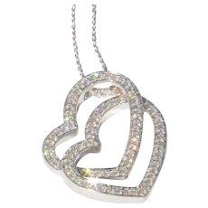 18K WG .75Ct Diamond Double Heart Necklace