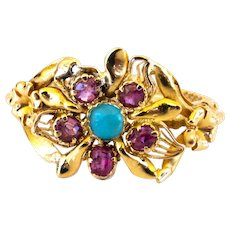18K Victorian Ruby Turquoise Flower Ring