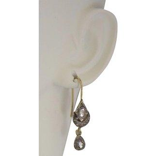 18K YG & Silver Georgian table cut diamond earrings
