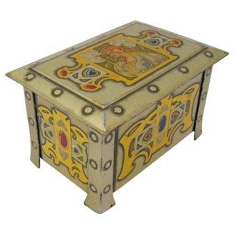 Art Nouveau casket biscuit tin Peak Frean & Co. London