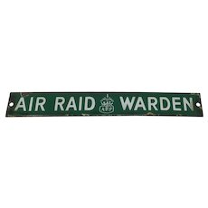WW2 British Home Front ARP Air Raid Warden porcelain enamel door sign