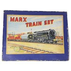 British Marx tin clockwork toy freight train set