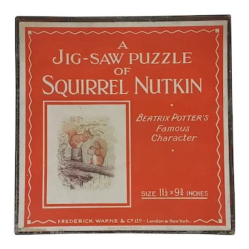 1930's Beatrix Potter Squirrel Nutkin wooden jigsaw puzzle