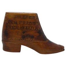 Boer War P.O.W Bermuda carved wooden boot trick snake box