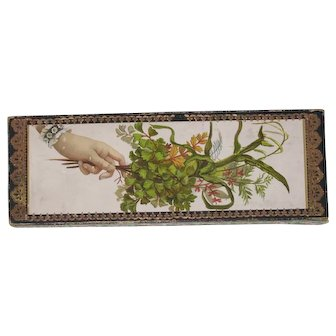 Antique card Gift Box hand with sprig of leaves Dresden paper trim