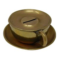 1920's Brass Cup and Saucer still bank