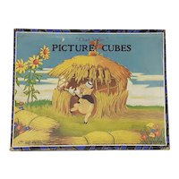 1930's Walt Disney Three Pigs Picture Cubes Chad Valley Block Puzzle