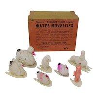 vintage Celluloid Water Novelties floating toys Ducks Polar Bears kewpie