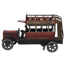 Circa 1920 German Distler tin-plate wind-up Double Decker Bus