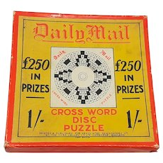 1920's Chad Valley Daily Mail Cross-Word Disc Puzzle