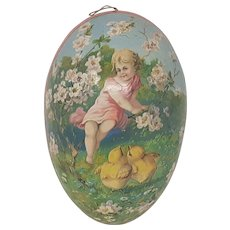 Vintage Girl with chicks large paper mache Easter Egg Candy container