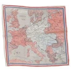 Antique Pre WW1 Map of Europe Cotton Handkerchief Map