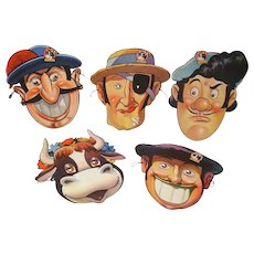 1938 Walt Disney set of Ferdinand the Bull Post Toasties Masks