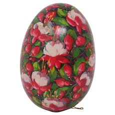 Vintage papier mache Easter Egg candy container flower decoration