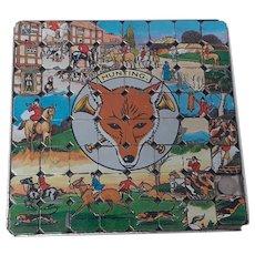 vintage Magic Pics 63 tile Fox Hunting Metal Tile Slide Puzzle
