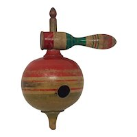 Antique French wooden humming spinning top