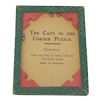 "Gibson Dexterity Puzzle ""The Cat's in the Corner Puzzle"" glass topped puzzle"