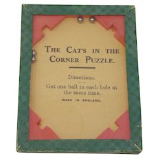 """Gibson Dexterity Puzzle """"The Cat's in the Corner Puzzle"""" glass topped puzzle"""