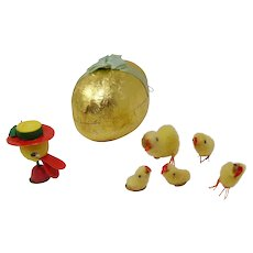 Vintage papier mache Easter Egg candy container with cotton chicks