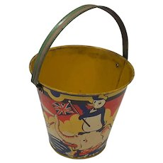 1940's child's Seaside sand pail Comical Animals Happynak