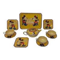 1940's Walt Disney Mickey Mouse Happynak tin toy tea-set