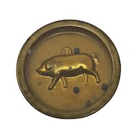 C19th round brass hoffmann dexterity puzzle Pig