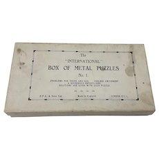 Vintage H P Gibson Box of Metal Puzzles No.1 disentanglement puzzles inc. cast