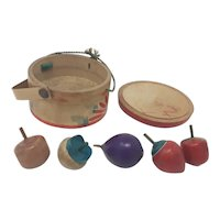 vintage Japanese wooden spinning tops 5 in round wooden box