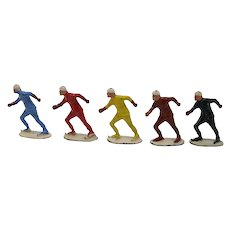 John Hill & Co. Ice Speed Skater toy lead figures (five)