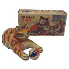 1950's T.N. Nomura friction tin toy Puzzle Cat boxed