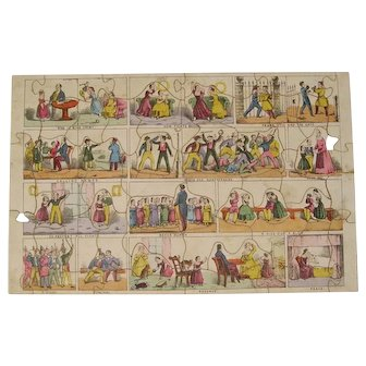 Antique circa 1850  A Kiss for a Blow wooden jigsaw puzzle Henry Clarke Wright