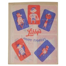 Libby's food advertising Happy Families card game