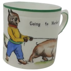 1920's Paragon Louis Wain Cats child's mug Going to market