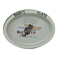 1920's Paragon Mary Irving Pussys Flying Stunt Cat Airplane Baby's Plate