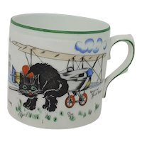 1920's Paragon Mary Irving Pussys Flying Stunt Cat Airplane child's mug